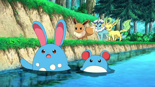 Azumarill shows the Eevees where to find Mewtwo