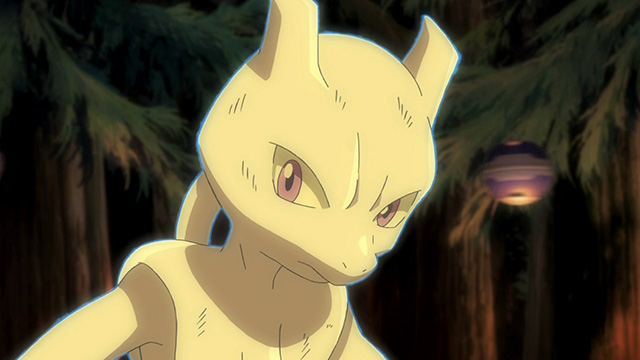 Mewtwo looks down on the group