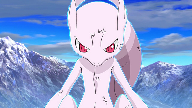 Mewtwo looks down on the burning forest