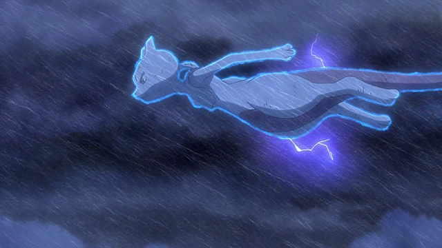 Mewtwo flies away during a storm