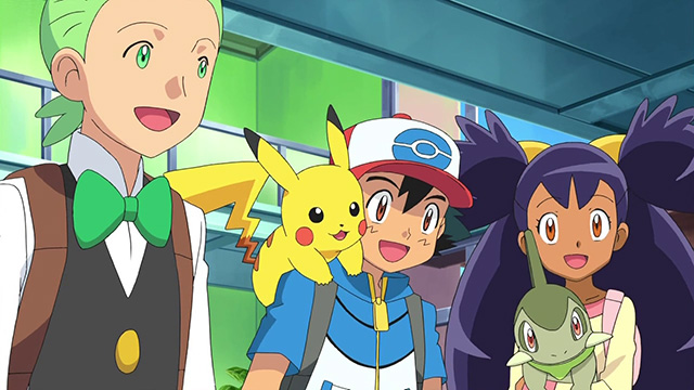 Ash, Iris & Cilan chat with the Profesor
